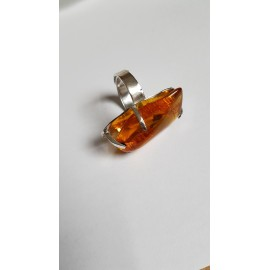 Sterling silver ring with natural Amber Nature 's Touch, Bijuterii de argint lucrate manual, handmade