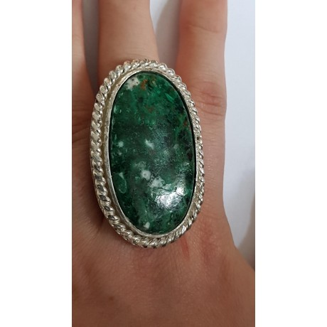 Sterling silver ring with natural chrisocola Green Therapy, Bijuterii de argint lucrate manual, handmade