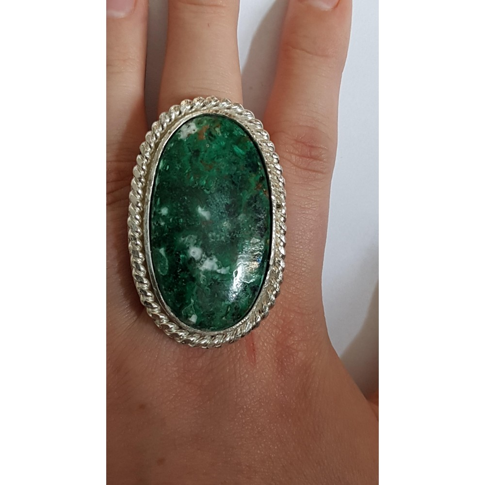 Sterling silver ring with natural chrisocola Green Therapy