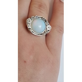 Sterling silver ring with natural opal stone Opalescent