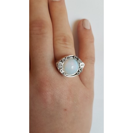Sterling silver ring with natural opal stone Opalescent, Bijuterii de argint lucrate manual, handmade