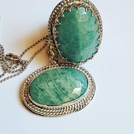 Sterling Silver pendant with natural aquamarine stone Green Parade, Bijuterii de argint lucrate manual, handmade