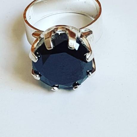 Silver engagement ring Ag925 with black zirconia Love Strength, Bijuterii de argint lucrate manual, handmade