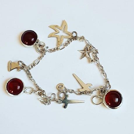 Sterling silver bracelet with natural carnelian Hot Spirited, Bijuterii de argint lucrate manual, handmade