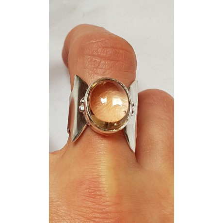 Sterling silver ring with natural citrine Lady Sparkle, Bijuterii de argint lucrate manual, handmade