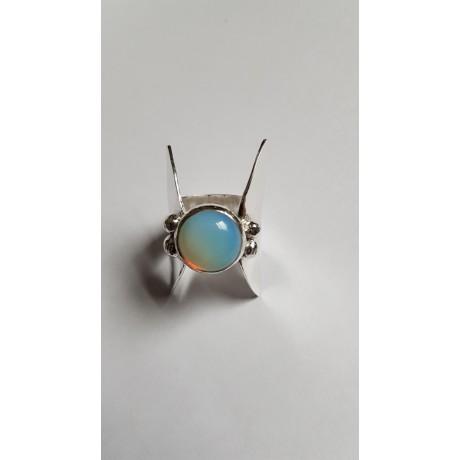Sterling silver ring with natural opal stone LightSense, Bijuterii de argint lucrate manual, handmade