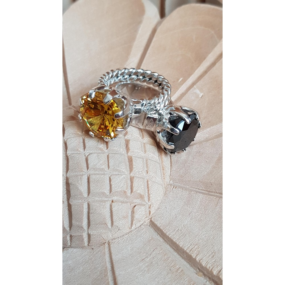 Massive Ag Engagement Ring Ag925 with asian citrin Lemon Crush