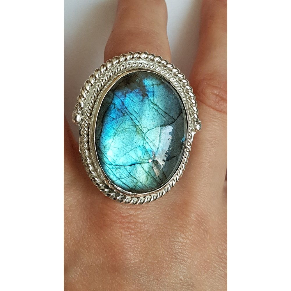 Sterling silver ring with natural labradorite stone Lavish Summer