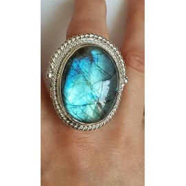 Sterling silver ring with natural labradorite stone Lavish Summer, Bijuterii de argint lucrate manual, handmade