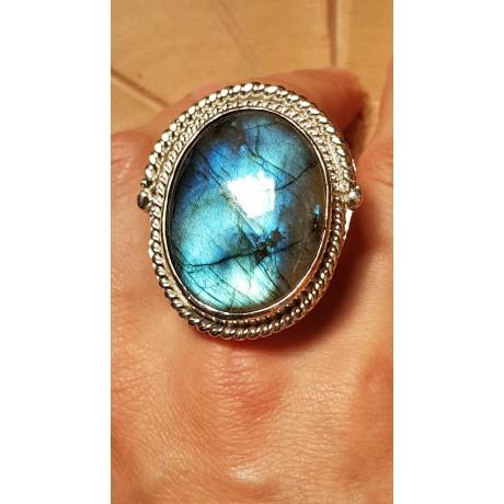 Sterling silver ring with natural labradorite stone Lavish Summer, Bijuterii de argint lucrate manual, handmade