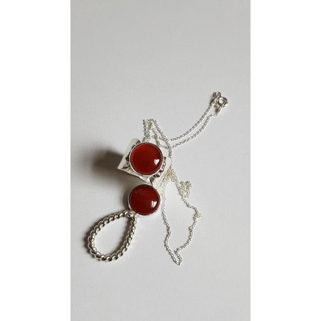 Sterling silver ring with natural carnelian & sterling necklace LoveMate, Bijuterii de argint lucrate manual, handmade
