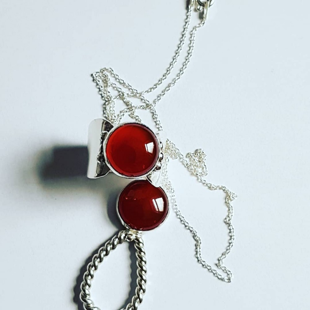 Sterling silver ring with natural carnelian & sterling necklace LoveMate