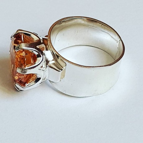 Massive silver Engagement Ring Ag925 with asian Citrin Amor vincit Omnes, Bijuterii de argint lucrate manual, handmade