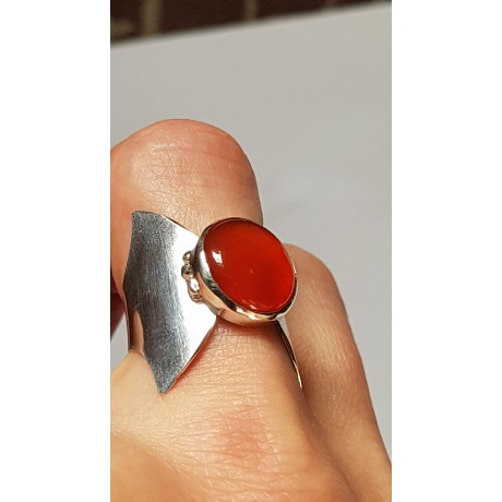 Sterling silver ring with natural carnelian Lady in Red, Bijuterii de argint lucrate manual, handmade