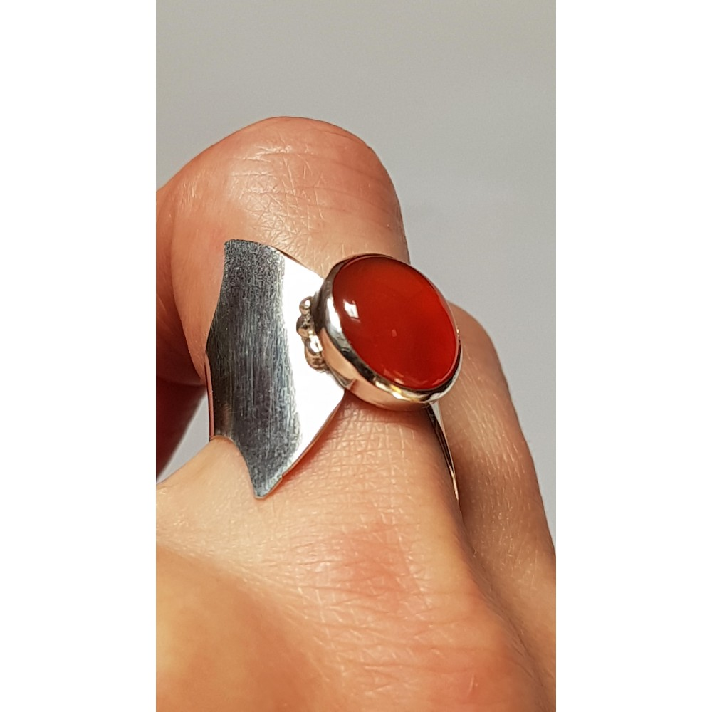 Sterling silver ring with natural carnelian Lady in Red