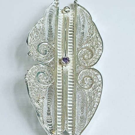 Statement filigree Sterling brooch Craving for Love, Bijuterii de argint lucrate manual, handmade