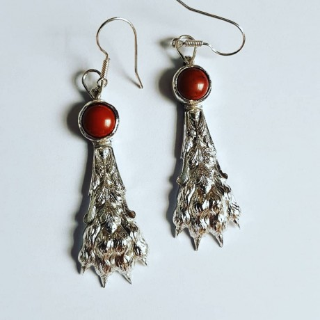 Sterling silver earrings with natural jasper stones Claw 's Wrath, Bijuterii de argint lucrate manual, handmade