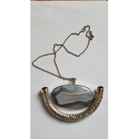 Large Sterling Silver necklace featuring sterling silver pendant