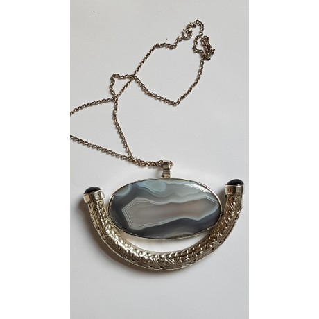 Large Sterling Silver necklace featuring sterling silver pendant, Bijuterii de argint lucrate manual, handmade