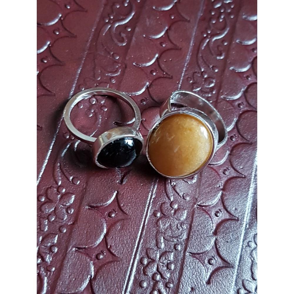 Set inele Ag925 cu onix negru și jad galben natural
