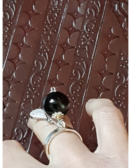 Inele handmade Ag925 masiv cu agate naturale,  onix natural și cristale Swarovski, Bijuterii de argint lucrate manual, handmade