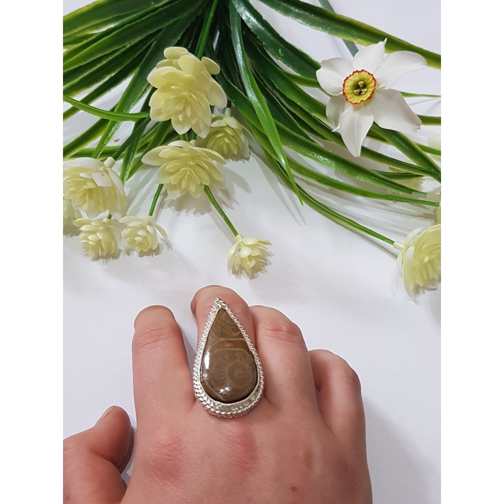 Sterling silver ring with natural fossil coral Genuine Feast