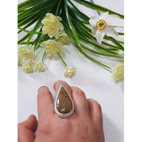 Sterling silver ring with natural fossil coral Genuine Feast , Bijuterii de argint lucrate manual, handmade