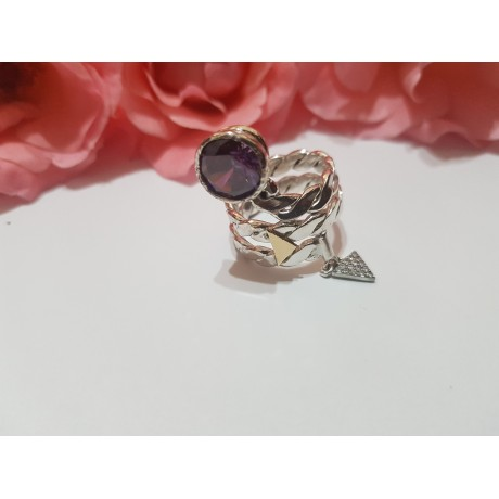 Handmade Sterling silver ring with 14k gold Designer 's Treat, Bijuterii de argint lucrate manual, handmade