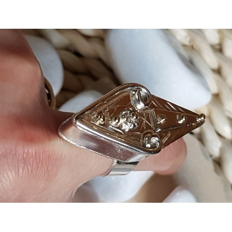 Sterling silver ring with 14k gold Thrive & ignite, Bijuterii de argint lucrate manual, handmade