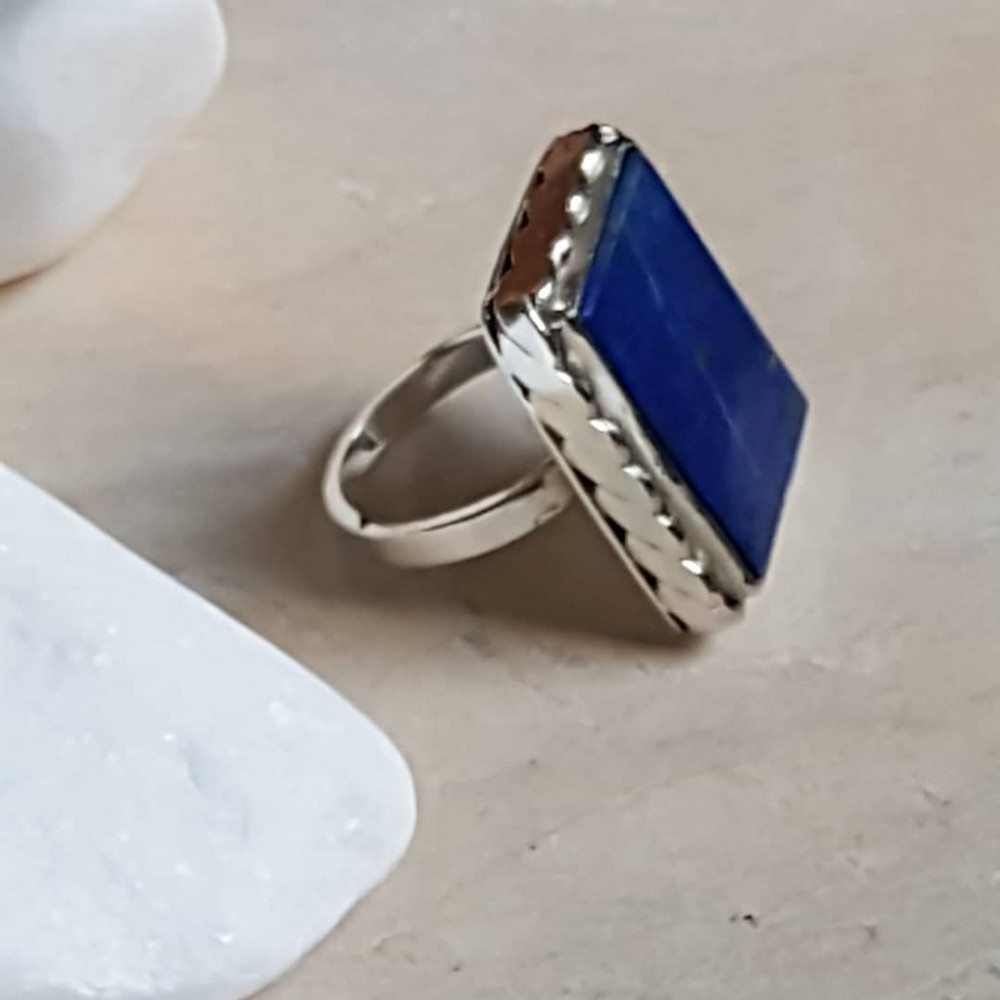 Sterling silver ring with natural lapislazuli Summer-Minded