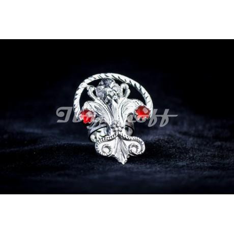 Silver ring with cornalines, Bijuterii de argint lucrate manual, handmade