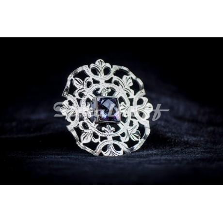 Siver ring with amethyst stone, Bijuterii de argint lucrate manual, handmade