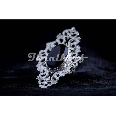 Silver ring with black onix, Bijuterii de argint lucrate manual, handmade