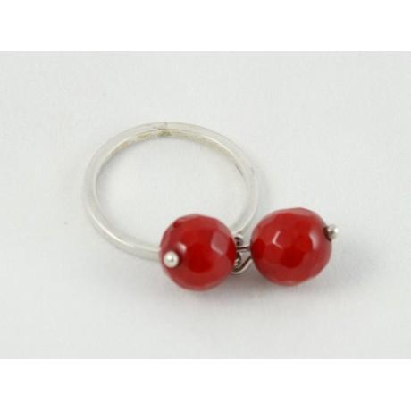 Inel Red Shimmer, Bijuterii de argint lucrate manual, handmade