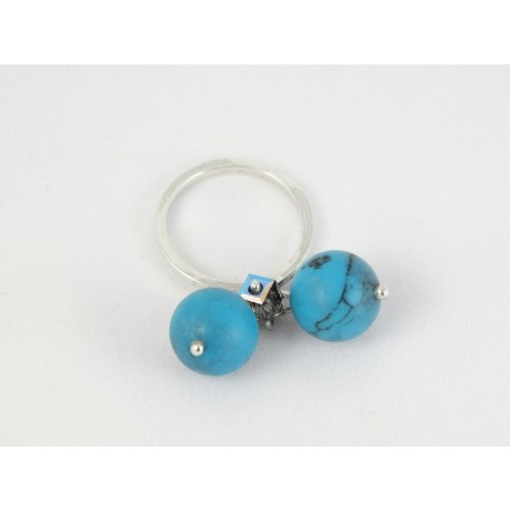Inel Blue Dash, Bijuterii de argint lucrate manual, handmade