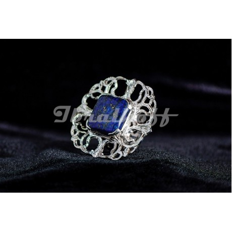 Silver ring with lapislazuli, Bijuterii de argint lucrate manual, handmade