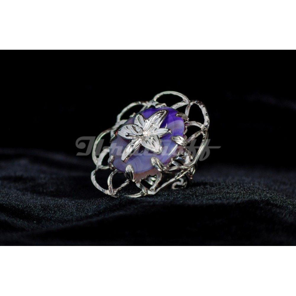 Sterling silver ring with agath