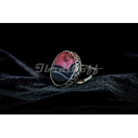 Sterling silver ring with crystal agath stone