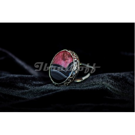 Sterling silver ring with crystal agath stone, Bijuterii de argint lucrate manual, handmade