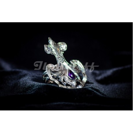 Sterling silver ring with amethyst, Bijuterii de argint lucrate manual, handmade