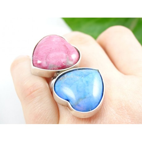 Sterling silver engagement ring Double Heart, Bijuterii de argint lucrate manual, handmade