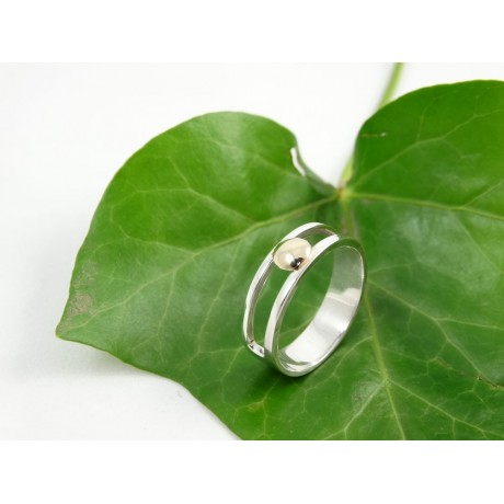 Sterling silver engagement ring Synapsis with gold, Bijuterii de argint lucrate manual, handmade