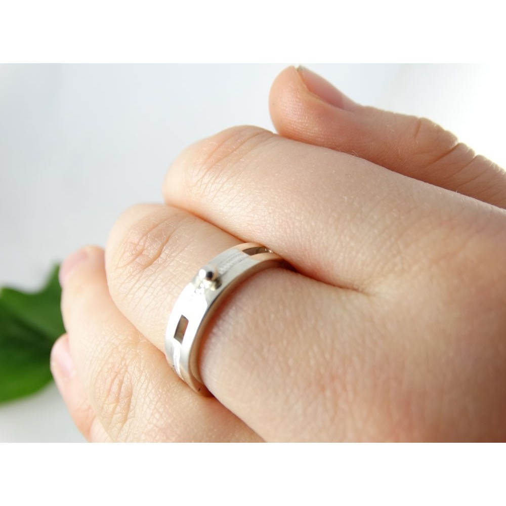 Sterling silver engagement ring Coup de foudre