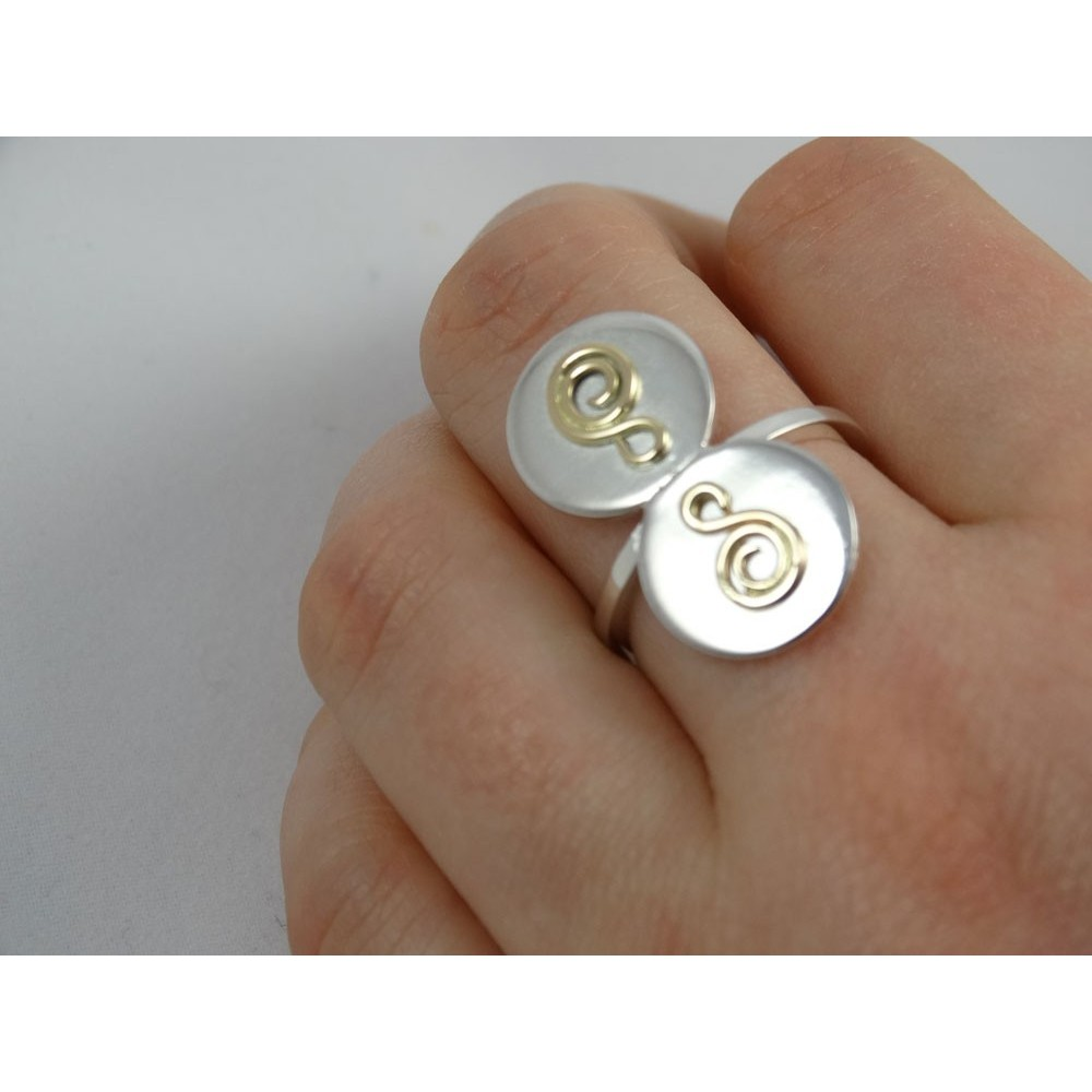 Sterling silver engagement ring LoveCoils
