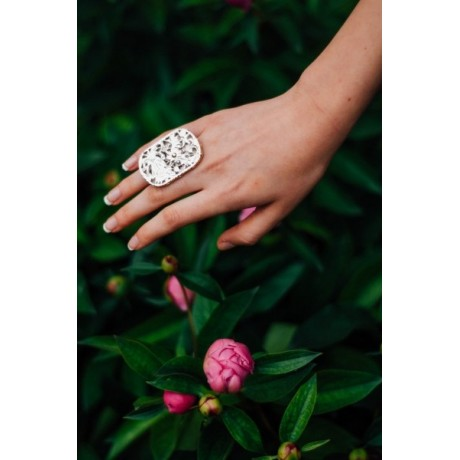 Silver and gold ring, Bijuterii de argint lucrate manual, handmade
