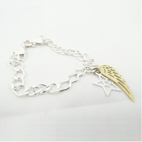 Sterling silver bracelet Love String, Bijuterii de argint lucrate manual, handmade