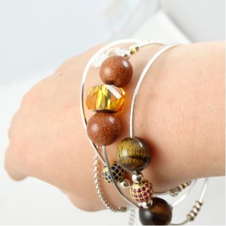 Sterling silver bracelet Love Fabric, Bijuterii de argint lucrate manual, handmade