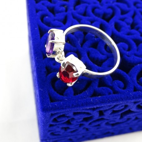 Sterling silver engagement ring Minutes to Red Code-Love Beacon, Bijuterii de argint lucrate manual, handmade