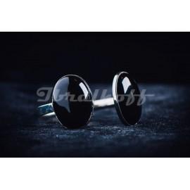 Sterling silver bracelet with black oval stones