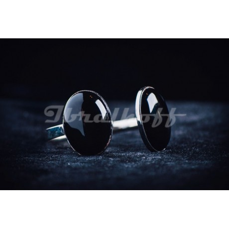 Sterling silver bracelet with black oval stones, Bijuterii de argint lucrate manual, handmade